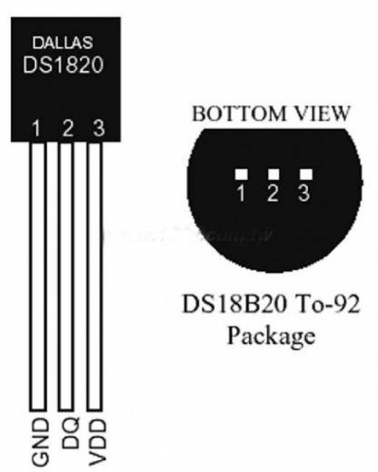 Temperature sensor DS18B20+ -55--125°C TO92 THT